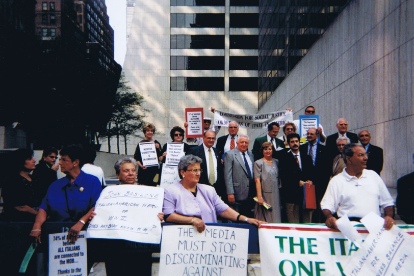 OSIA's Commission for Social Justice protesting against negative portrayals of Italian Americans in front of HBO in New York.
