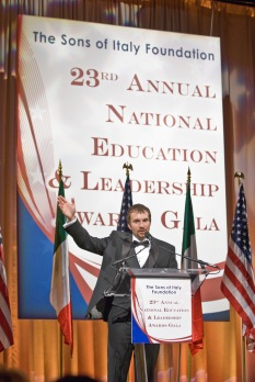 Medal of Honor Recipient Salvatore Giunta speaking at the 23rd Sons of Italy Foundation National Education & Leadership Awards Gala